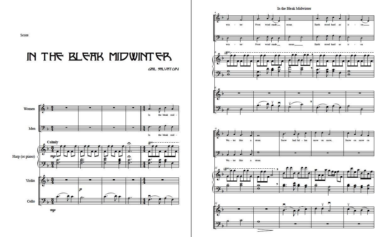 2 voice choir: In the Bleak Midwinter harp or piano and strings