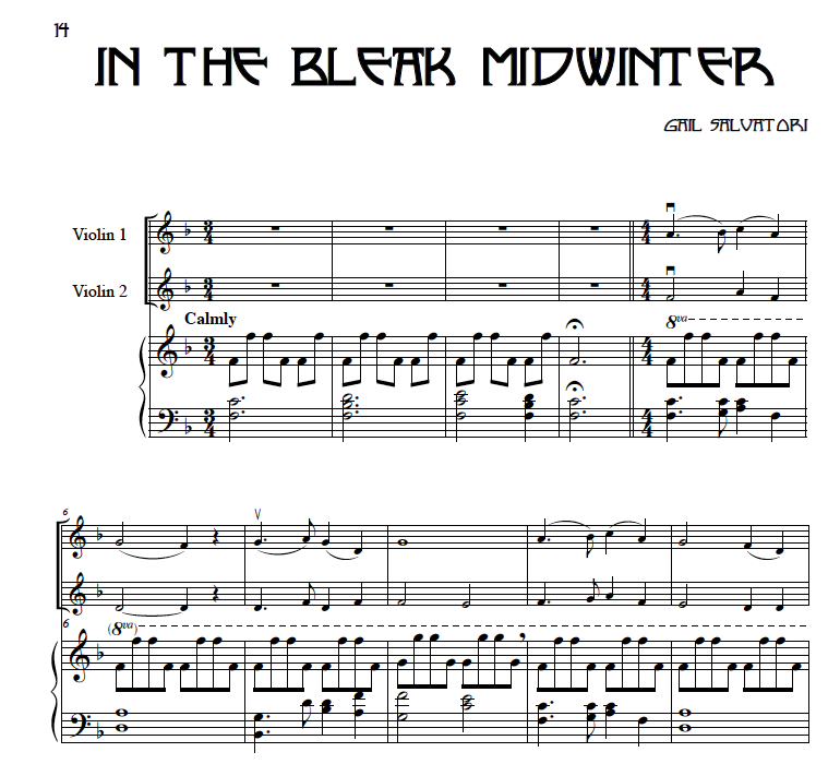 In the Bleak Midwinter sheet music 2 violins and piano or harp